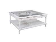 LivingStyles Polo Glass Top Wooden 110cm Square Coffee Table - White