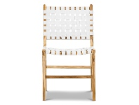 LivingStyles Lazie Woven Leather & Teak Dining Chair, White / Natural