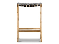 LivingStyles Lazie Woven Leather Teak Counter Stool, Black