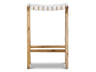 LivingStyles Lazie Woven Leather Teak Counter Stool, White