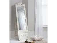 LivingStyles Bethany Vintage Cheval Mirror, 192cm, Distressed Cream