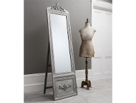 LivingStyles Bethany Vintage Cheval Mirror, 192cm, Distressed Silver