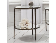 LivingStyles Hudson Glass & Metal Round Side Table, Aged Bronze