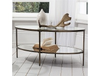 LivingStyles Hudson Glass & Metal Oval Coffee Table, 112cm, Aged Bronze