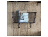 LivingStyles Oallen Metal Wire Wall Basket with Hooks