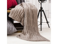 LivingStyles Ashton Knitted Cotton Throw, Taupe