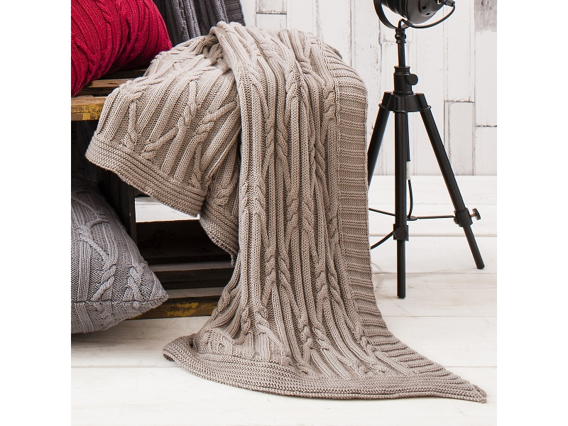 Ashton Knitted Cotton Throw, Taupe