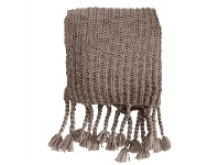 LivingStyles Saran Knitted Chunky Throw, Taupe