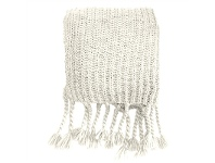 LivingStyles Saran Knitted Chunky Throw, Cream