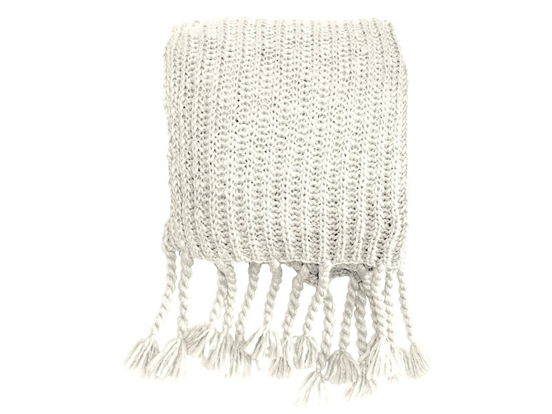 Saran Knitted Chunky Throw, Cream