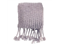 LivingStyles Saran Knitted Chunky Throw, Heather