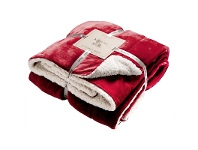 Kilburn & Scott Sherpa Double Sided Flannel Throw, Red