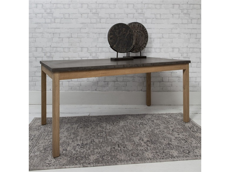 Dentor Solid Timber Coffee Table with Faux Concrete Top, 120cm