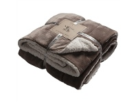 LivingStyles Kilburn & Scott Sherpa Double Sided Flannel Throw, Taupe
