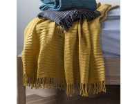 LivingStyles Linear Pleat Cotton Throw, Chartreuse