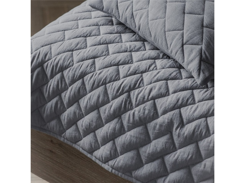 Becky Quilted Cotton Throw, Grey