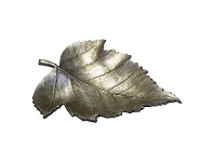 LivingStyles Tree Leaf Resin Decorative Bowl, Aged Silver