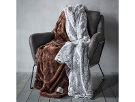 LivingStyles Kilburn & Scott Faux Fur Throw, Chocolate
