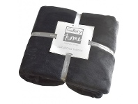 LivingStyles Parisian House Flannel Fleece Throw, Charcoal