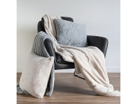 LivingStyles Kilburn & Scott Faux Rabbit Fur Throw, Grey