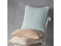 LivingStyles Opal Knitted Cotton Scatter Cushion, Blush