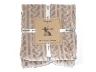 LivingStyles Kilburn & Scott Cable Fleece Throw, Natural