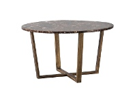 LivingStyles Chan Marble Top Round Coffee Table, 80cm, Brown / Brass