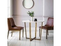 LivingStyles Earl Marble Top Round Dining Table, 90cm, White / Brass