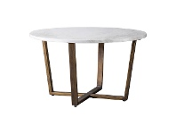 LivingStyles Earl Marble Top Round Coffee Table, 80cm, White / Brass