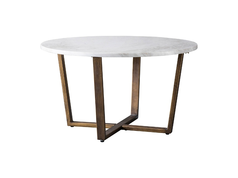 Earl Marble Top Round Coffee Table, 80cm, White / Brass