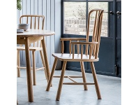 LivingStyles Willem Oak Timber Carver Dining Armchair, Natural