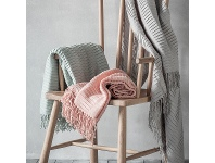 LivingStyles Linear Pleat Throw, Blush