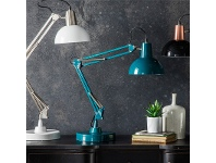 LivingStyles Wilson Metal Table Lamp, Teal