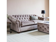 LivingStyles Harper Tufted Fabric 3 Seater Sofa, Brussels Taupe