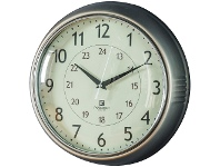 LivingStyles Temple Round Wall Clock, 28cm, Nickel