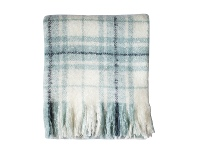 LivingStyles Lexden Check Faux Mohair Throw, Duck Egg Blue