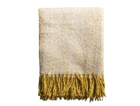 LivingStyles Lexden Herringbone Faux Mohair Throw, Ochre
