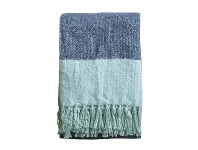 LivingStyles Lexden Tonal Faux Mohair Throw, Ink / Duck Egg Blue