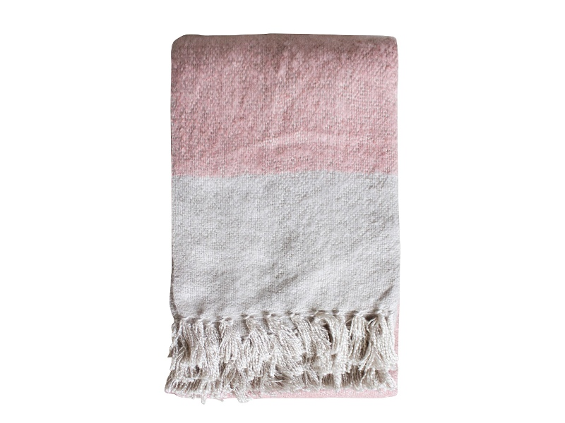 Lexden Tonal Faux Mohair Throw, Blush / Silver