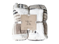 LivingStyles Kilburn & Scott Sherpa Double Sided Check Flannel Throw, Taupe / Grey