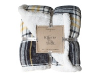LivingStyles Kilburn & Scott Sherpa Double Sided Check Flannel Throw, Grey / Ochre