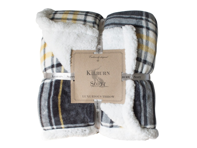 Kilburn & Scott Sherpa Double Sided Check Flannel Throw, Grey / Ochre