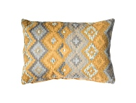 LivingStyles Amina Feather Filled Cotton Lumbar Cushion, Ochre / Grey