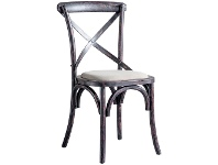 LivingStyles Zola Oak Timber Cross Back Dining Chair, Distressed Black