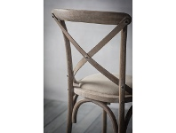 LivingStyles Zola Oak Timber Cross Back Dining Chair, Lime Washed Oak