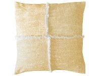 LivingStyles Pixie Feather Filled Fringed Cotton Scatter Cushion, Ochre