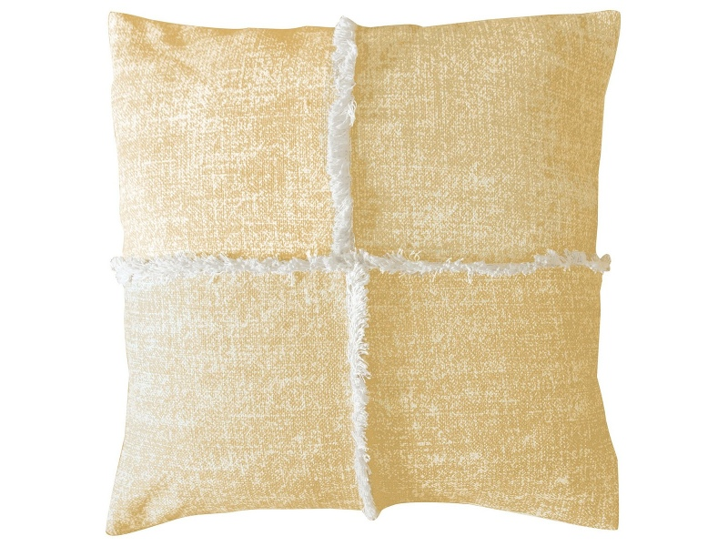 Pixie Feather Filled Fringed Cotton Scatter Cushion, Ochre