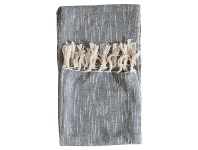 LivingStyles Safa Fringed Cotton Throw, Grey