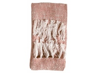 LivingStyles Safa Fringed Cotton Throw, Blush