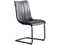 LivingStyles Erin Faux Leather Dining Chair, Set of 2, Dark Grey